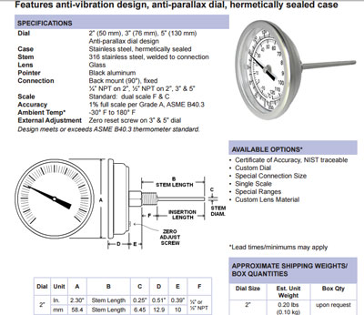 Temperature gauge small dial