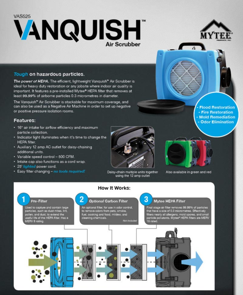 mytee vanquish air scrubber brochure in photo
