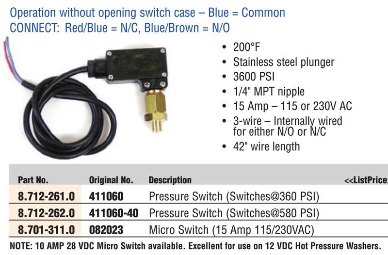 General Pump 87122620 Pressure Switch 15amp 580psi 8 712