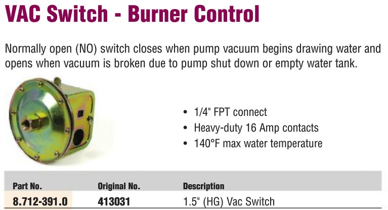 Karcher Water Pump Vacuum Switch Controls Burner For