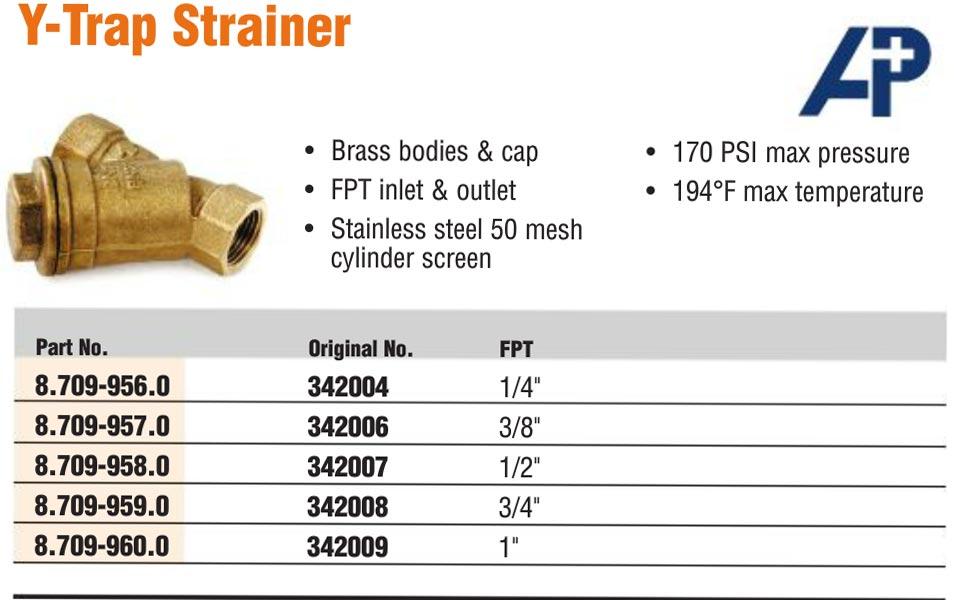 Brass Y strainer filters