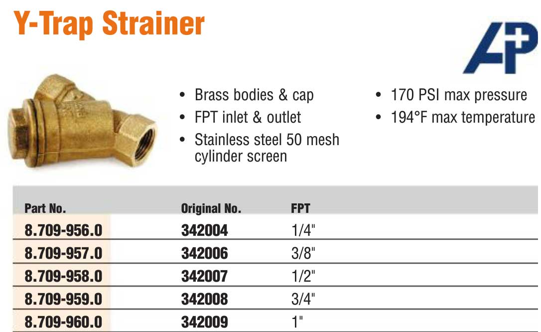 Brass Y Strainer Filter 3 8 Stainless Screen 8 709 957 0 87099570